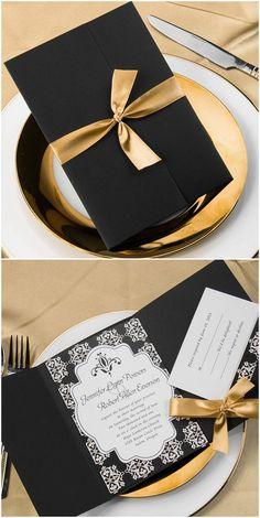 Gold and Black Pocket Wedding Invitations