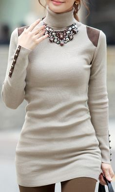 Long Sleeve PU Patchwork Pullovers