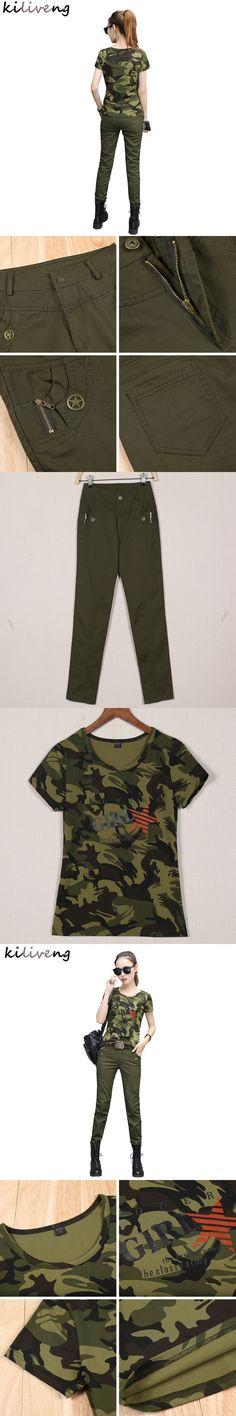 Kiliveng Hot Sale Camouflage New Fall Fashion Show Slim, Slim Clothing Pants&t-shirt For Woman Short Sleeve Pants 2017 Y703