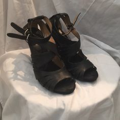 Nine West leather sandal wedge Gently loved leather wedge with double straps Nine West Shoes Wedges