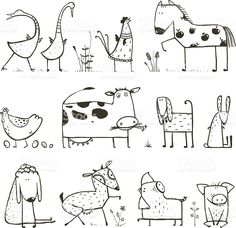 Funny Cartoon Farm Domestic Animals Collection for. - - Funny Cartoon Farm Domestic Animals Collection for… – - Doodle Drawings, Easy Drawings, Doodle Art, Funny Drawings, Simple Animal Drawings, Animal Sketches Easy, Animal Line Drawings, Coloring For Kids, Coloring Books