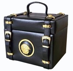 Gianni Versace Couture Vintage Gold tone MEDUSA Black Leather Vanity Bag Box