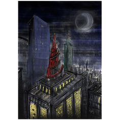 """""""Babylon Tower"""" - an imaginary sketch from 2016 that describes my mood when moving to #cologne in 2015. ⠀ ⠀ #moon #city #gotham #gothamcity #architecture #abstractart #painting #illustration #contemporaryart #art #digialart #digialillustration #procreate #procreateapp #malerei #sketch #arte #artwork"""