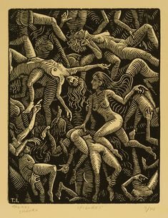 "Figures - Woodcut on Paper - 8""x6"" - Thomas Shahan"