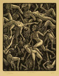 "Figures - Woodcut on Paper - 8""x6"" - Thomas Shahan"