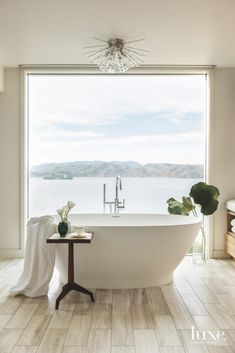 Freestanding Soaking Tub Master Bathroom with Pacific Water Views and Leaf Home Interior, Bathroom Interior, Interior Design, San Francisco Houses, Dream Bath, Beautiful Bathrooms, Bathroom Inspiration, Master Bathroom, Washroom