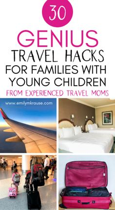 Taking a family vacation soon? The best baby and toddler travel hacks from experienced parents including_ toddler hotel hacks, entertainment and snack ideas for a long plane ride, and packing hacks for little kids.
