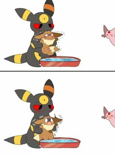 Umbreon And Espeon, Pokemon Eevee Evolutions, O Pokemon, Pokemon Comics, Pokemon Funny, Pokemon Memes, Pokemon Fan Art, Eevee Cute, Pikachu
