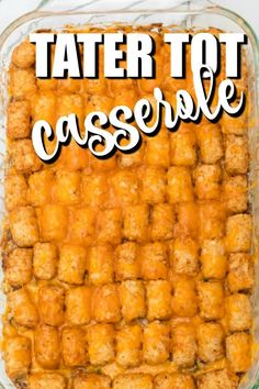 Tater tot Casserole is one-dish comfort food at it's finest. Baked with frozen tater tots, ground beef, cream of mushroom soup, cheese, and vegetables, this hearty and quick recipe is a delicious, simple meal that is perfect for busy nights. You'll love the rich taste and how easy this recipe is to make! Kid-friendly dinner where they don't even know they are getting their vegetables Tater Tot Recipes, Beef Casserole Recipes, Casserole Dishes, Hamburger Recipes, Hamburger Tator Tot Casserole, Ground Beef Casserole, Chicken Casserole, Kraft Recipes, Oven Recipes