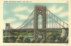 VINTAGE LINEN POSTCARD - GEORGE WASHINGTON BRIDGE, NEW YORK CITY