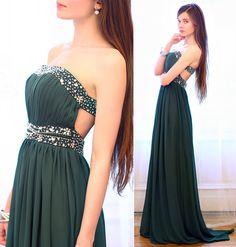 Green Strapless Elegant Dress With, Swarovski Silver Earrings, Silver Bracelets