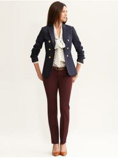 Women's Apparel: outfits we love | Banana Republic. Great example of how to wear a tie blouse. Balance. slim pants, fitted but not too small blazer and BFB tie blouse. And those burgundy pants again...