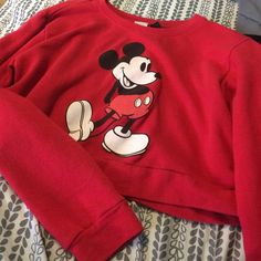 Red  Mickey Mouse long sleeve crop top Worn only a few times, looks brand-new and is a crop top that is longsleeve Wet Seal Tops Crop Tops