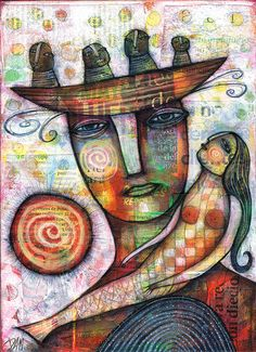 THE MERMAID by Dan Casado  acrylic and collage on wood