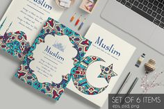 Set of islamic ornament cards Templates Set of page ornament illustration concept. Art traditional, Islam, arabic, abstract, ottoman motifs by LineTale Business Illustration, Pencil Illustration, Graphic Design Illustration, Creative Flyer Design, Creative Flyers, Magazine Design, Book Cover Design, Book Design, Eid Card Designs