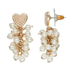 Juicy+Couture+Heart+Simulated+Pearl+Cluster+Drop+Earrings