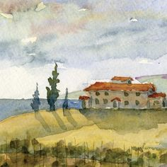 italian watercolor Tuscan Dreamscape panorama 4x12 by bleuherron, $25.00
