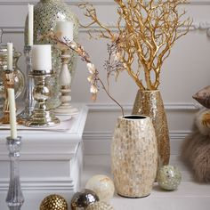 Short white silver mosaic vase home decor mosaic vase home decor vases decor - Jarrones plateados ...