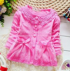 Girls Pink Lace Sweater with Bows and Ruffle by RufflesBowtique