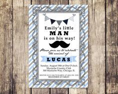 Mustache Baby Shower Invitation - Little Man Mustache Baby Boy Shower Invite - Print Yourself. $10.00, via Etsy.