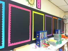 Classroom Set Up- Black chalkboard paint with bright borders for anchor charts http://thepinspiredteacher.blogspot.com/