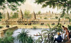 Los dibujos que hizo el joven Delaporte en su primer viaje a Angkor (como el de la imagen) ilustraron el libro de su compañero de expedición, Francis Garnier, en 1870.