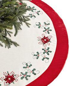 Jabara Christmas Tree Skirt, Ribbon Poinsettia - Holiday Lane - Macy's