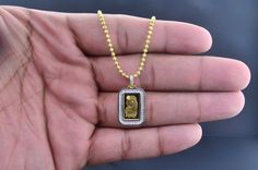 24K Yellow Gold 1G Coin Bar PAMP Suisse Swiss Custom Pendant Charm 0.35 Ct. 24K Swiss Gold Bar & 10K Yellow Gold Mounting $700 via @shopseen