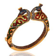 18K Gold Over Brace Jewellery CZ Peacock Design Bangle with Blue Enamel #Dhruvansh #Bangle