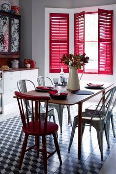 Explore our kitchen design ideas, including this retro cafe kitchen Red Shutters, Custom Shutters, Window Shutters, Kitchen Colors, Kitchen Decor, Kitchen Design, Kitchen Ideas, Red Blinds, Kitchen Shutters