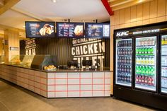 concept store design - Veering away from it greasy fast food reputation, this KFC concept store design is intended to appeal to working adults. The Australian outpost of . Chicken Brands, Liquor License, Food Concept, Retail Space, Kfc, Store Design, Fried Chicken, Liquor Cabinet, Restaurant