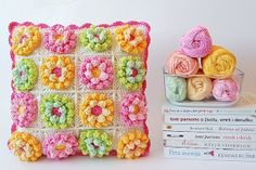 @ Dada's place: gorgeous cushion - link to free pattern for flower