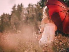 Kobieta, Łąka, Parasol