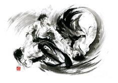 Aikido Randori Fight Popular Techniques Martial Arts Sumi-e Samurai Ink Painting Artwork Painting