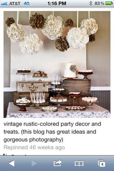 Vintage party decor  - would be great color scheme for a chocolate party