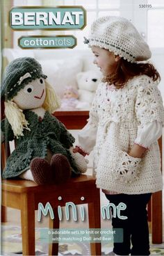Six adorable sets to knit and crochet for your little boy or girl and their special friend. Patterns range in difficulty from Easy to Intermediate and are made with Bernat Cottontots.