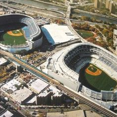 Beautiful aerial shot of new and old Yankee Stadium