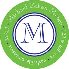 Green and Navy Border Round Address Labels