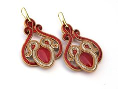 Red-gold light, hanging, soutache earrings with red agate by RebarJewelry on Etsy https://www.etsy.com/listing/522259539/red-gold-light-hanging-soutache-earrings