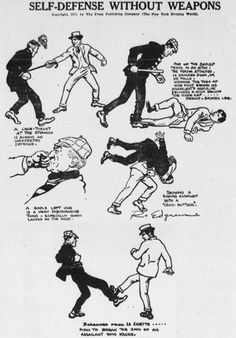 A 1917 publication on self defense featuring techniques from Savate, Jiu-Jitsu and La Canne de Combate. Self Defense Moves, Self Defense Martial Arts, Self Defense Weapons, Martial Arts Techniques, Self Defense Techniques, Martial Arts Workout, Martial Arts Training, Taekwondo, Marshal Arts