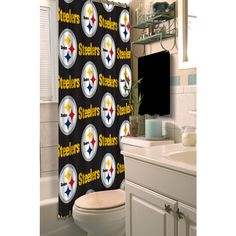 [[start tab]] Description The Pittsburgh Steelers NFL Shower Curtain let's you show your team spirit even while you're in the shower! The shower curtain is dyed to match your favorite football team's