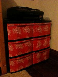 Gettin' Domestic: DIY Wrapping Paper Mod Podge Plastic Drawers