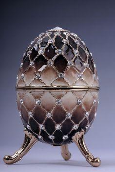Faberge Easter Egg Brown by Keren Kopal Swarovski Crystal Jewelry box