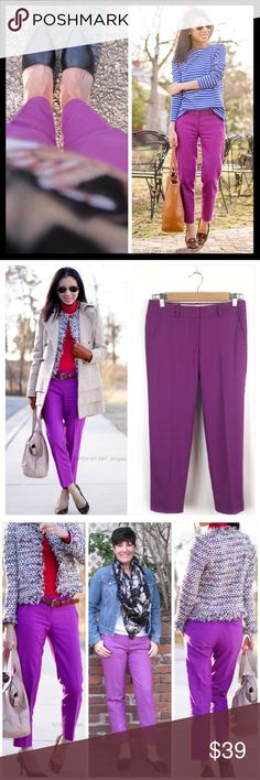 """j. crew // wool skimmer cafe capri pants • purple Introducing our wildly flattering wool café capri—now your favorite perfect-fitting pant can be worn all year long. Crafted in lightweight wool, it's the one piece you'll need to anchor your wardrobe for fall (and beyond). 26"""" inseam. Cuffed. From J. Crew Factory. Wool/polyester/viscose/spandex. City fit. Color is mulberry purple. Gorgeous! Gently worn and in excellent condition. J. Crew Pants Ankle & Cropped"""