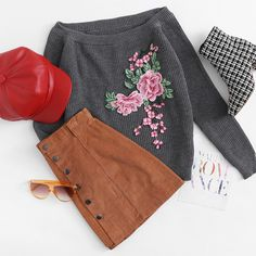 To find out about the Embroidered Flower Patch Raglan Sleeve Jumper at SHEIN, part of our latest Sweaters ready to shop online today! Casual School Outfits, Cute Comfy Outfits, Comfy Dresses, Dope Outfits, Teen Fashion Outfits, Pretty Outfits, Stylish Outfits, Church Outfit For Teens, Church Outfits