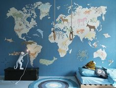Wall Print collection by INKE IK2130 (wereldkaart / world map)