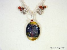 Tree Picture Pendant Necklace with Red Sesame by SDJewelryDesign16, $30.00