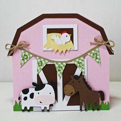 Farm Birthday Invitations / Pink barn card / by JillyBearDesigns, $45.00
