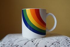 Vintage Rainbow Coffee Mug, FTD, Especially for You, Kitschy, Brighter Day, Feel Better, Get Well Soon, Congratulations, Happy Mug, Korea by BrindleDogVintage on Etsy