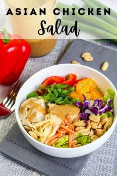 Asian Chicken Salad combines rotisserie chicken, fresh vegetables, and mandarins that are then covered in a delicious homemade Asian dressing. This is quick and easy to make and will soon become your go-to salad this summer! Rotisserie Chicken Salad, Asian Chicken Salads, Fall Recipes, Healthy Recipes, Delicious Recipes, Healthy Food, Best Instant Pot Recipe, Party Food And Drinks, Meals For The Week